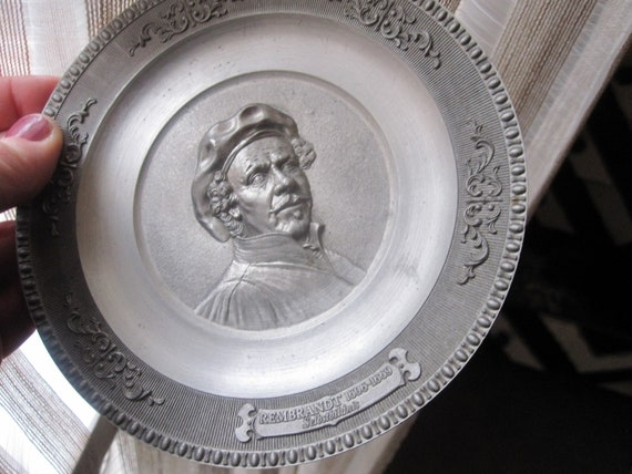"""Beautiful vintage WMF pewter Rembrandt plate 4"""""""