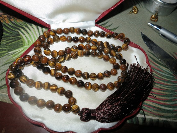 Lovely 7mm Tiger's-eye Necklace or wrap bracelet 108 Beads Tassels Mala Prayer Yoga