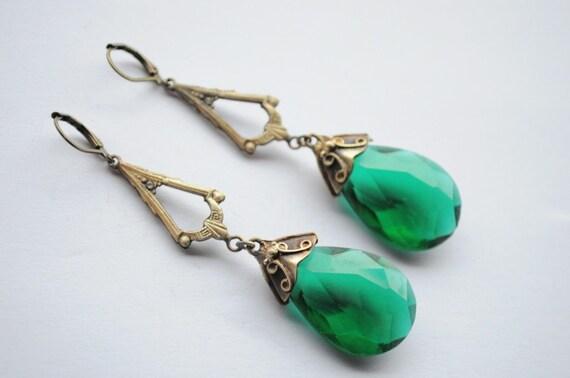 Vintage Old Czech Earrings Jewelry Art Nouveau Ornate Green Glass Handmade