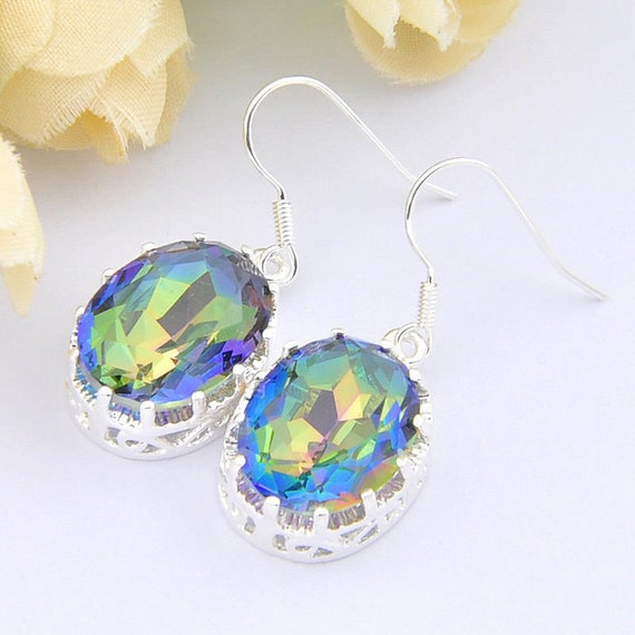 Lovely 18 ct white gold plated mystic blue topaz  sapphire crystal drop earrings