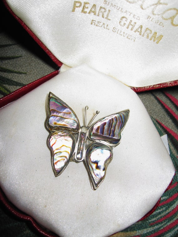 Beautiful vintage sterling paua abalone Mexican Alpaca butterfly brooch
