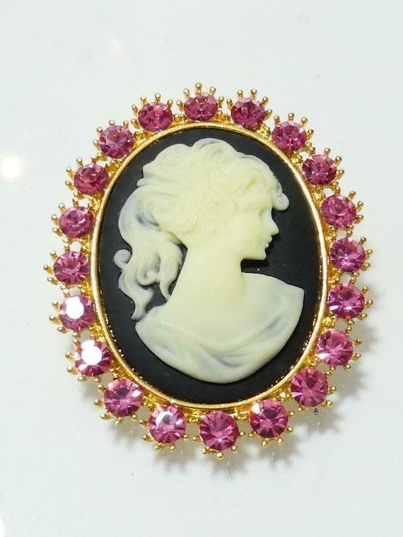 Beautiful vintage Goldtone Pink Crystal & Black/Cream Resin Carved   Cameo  brooch or pendant
