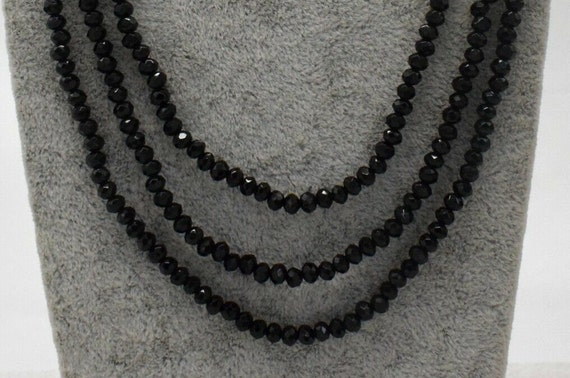 Lovely 3 strand faceted 4mm sparkly black onyx necklace 17-19""