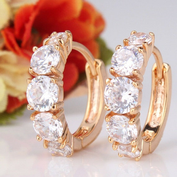Beautiful 18 yellow gold filled crystal glass hoop earrings for pierced ears