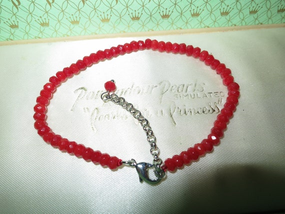 Attractive 4 mm natural red jade  bracelet 7.5 - 8.5 inches
