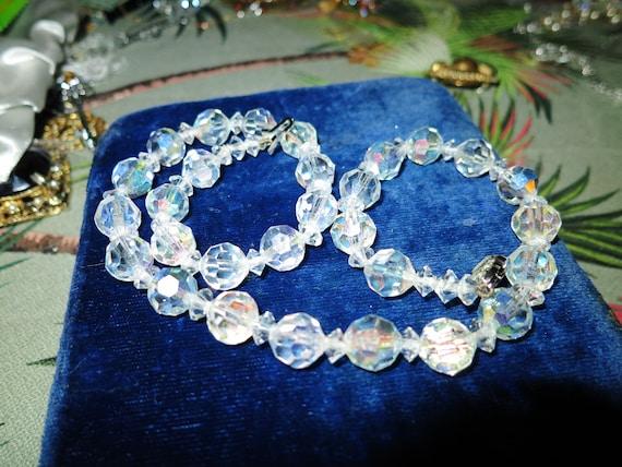 Vintage aurora borealis 9mm necklace rhinestone clasp 16.5 inches