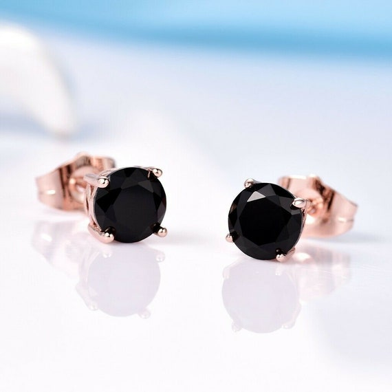 Beautiful 18 ct rose gold filled black sapphire crystal stud earrings