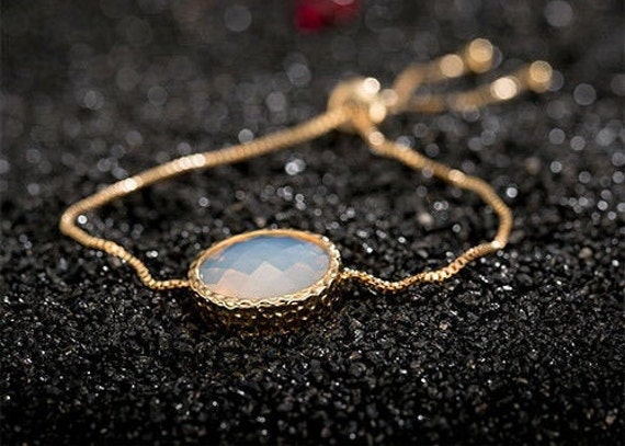 Lovely new 18 ct gold filled faceted moonstone opal glass bracelet adjustable