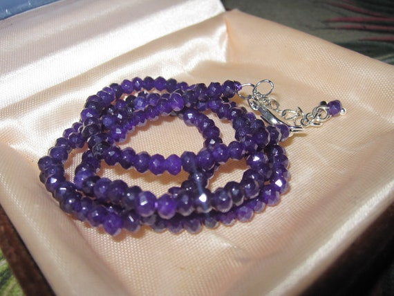 """Attractive 4 mm natural amethyst necklace 18-20 """""""