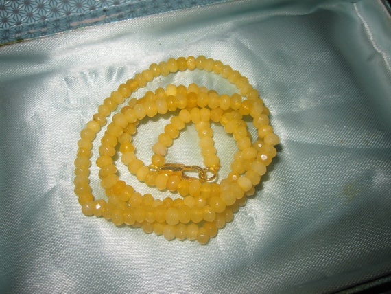 """Lovely Natural 4mm Faceted Yellow Topaz Necklace 20"""""""