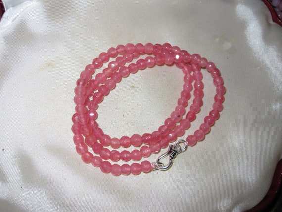Wonderful 4mm pink tourmaline necklace 18  inches sterling clasp