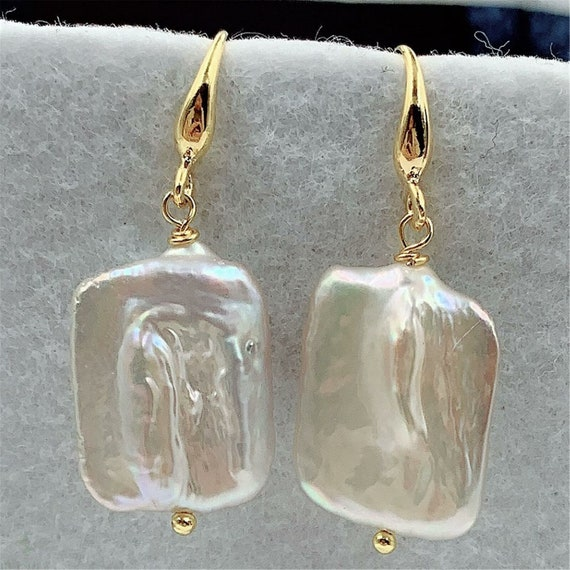 Lovely 18 ct gold filled baroque  high lustre pearl drop earrings