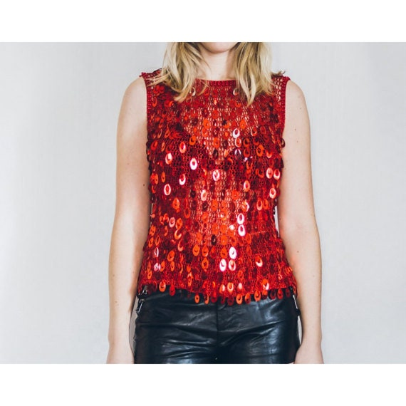 Gorgeous vintage red sequin crochet sleeveless top size M