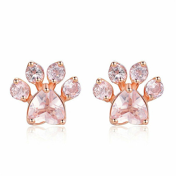 Lovely 18ct rose gold filled champagne sapphire crystal   stud earrings