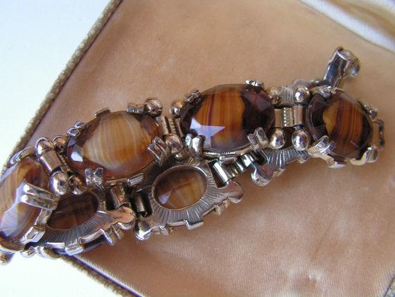 Vintage Scottish silvertone banded topaz glass panel bracelet