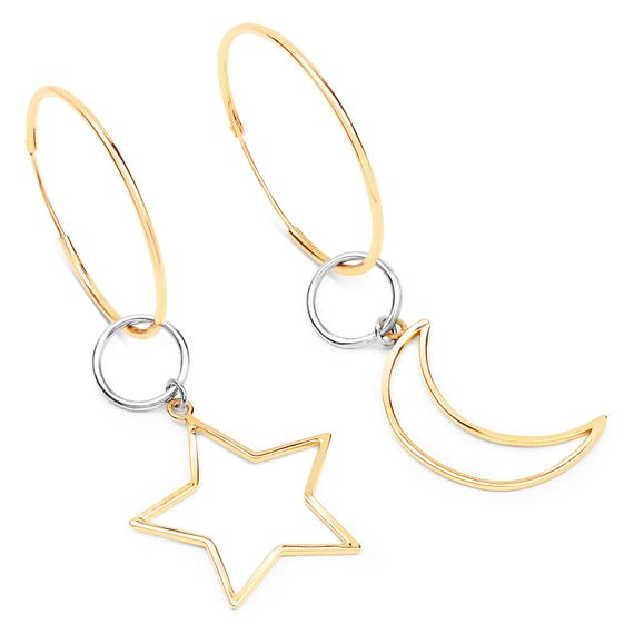 """Lovely new 14ct gold and sterling silver """"So Saturn"""" moon and star large hoop earrings"""