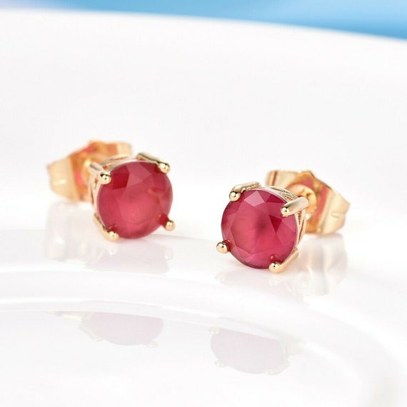 Beautiful 18 yellow gold filled 7mm ruby stud earrings
