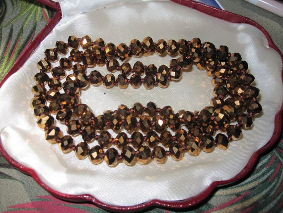 Beautiful 7mm sparkly bronze gold coated crystal beaded necklace 36 inches