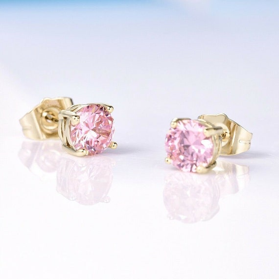 Lovely 18 ct yellow gold filled pink sapphire crystal stud earrings