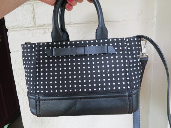 Kate Spade Black & White polka dot leather bag with bow feature as new