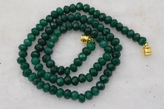 Lovely Natural 6mm Faceted Green Emerald Gemstone Necklace