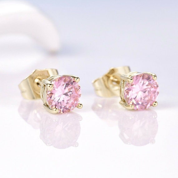 Lovely 18 ct gold filled pink sapphire crystal stud earrings