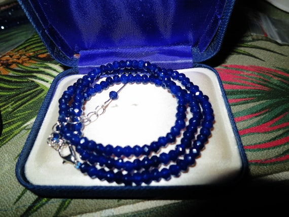 """Lovely sparkly faceted 4 mm blue natural Sapphire necklace   18 - 20"""""""