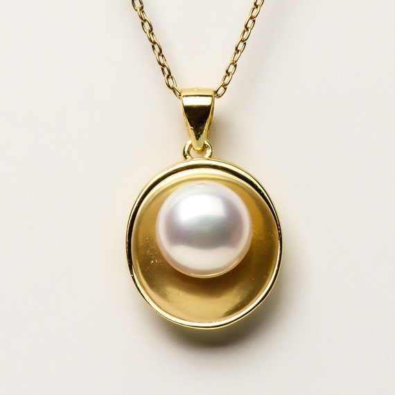 Beautiful Natural  9mm cultured Pearl pendant set in gold over sterling silver