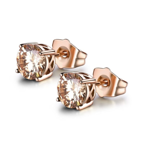 Lovely 18 ct rose gold filled faceted champagne crystal stud earrings