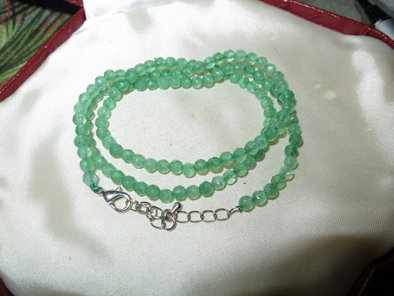 Attractive 4mm faceted  natural pale emerald necklace 20""