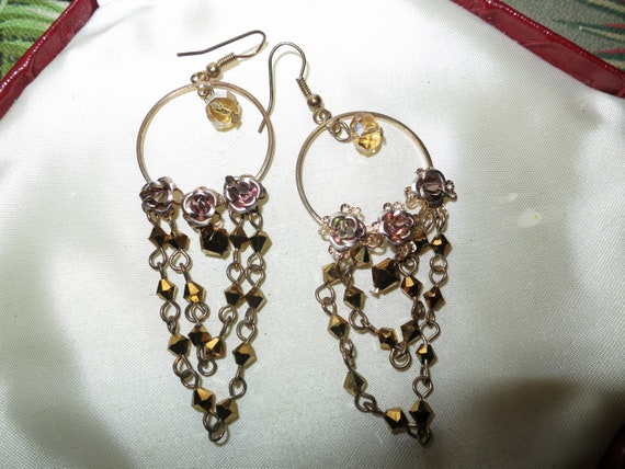 Beautiful vintage bronze beaded aurora borealis roses cdropper earrings