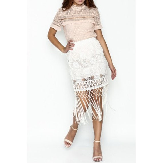 4 Love & Liberty Johnny Was white silk and cotton midi fringe skirt size Small new with tags