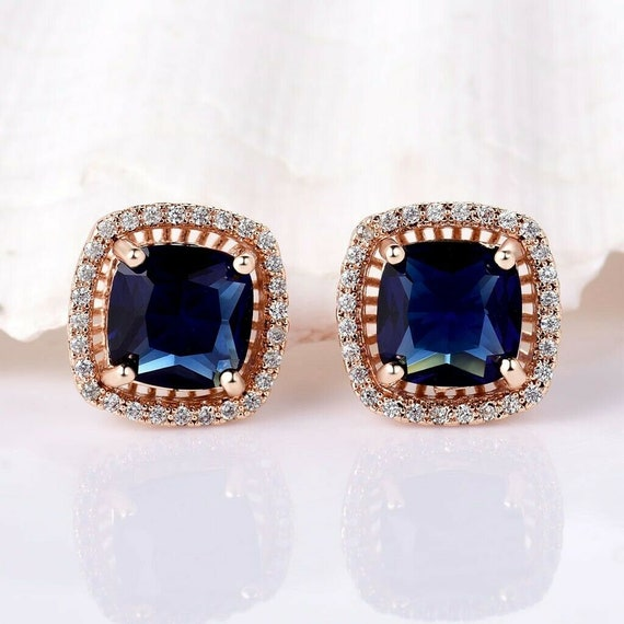 Lovely new 18 ct yellow gold filled blue sapphire crystal stud earrings