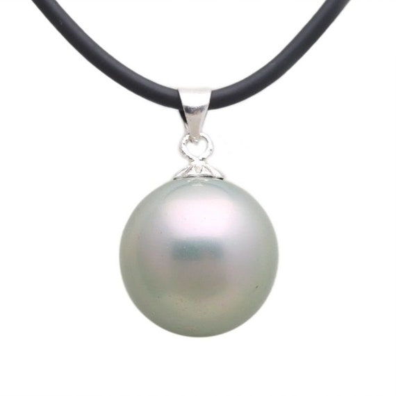 Lovely 12mm round high lustre shell white pearl pendant on rubber chain necklace