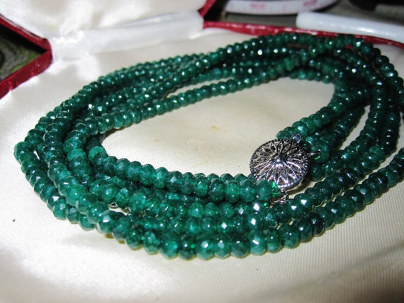 """Lovely 3 strand faceted 4mm faceted natural Emerald necklace 18-20"""""""