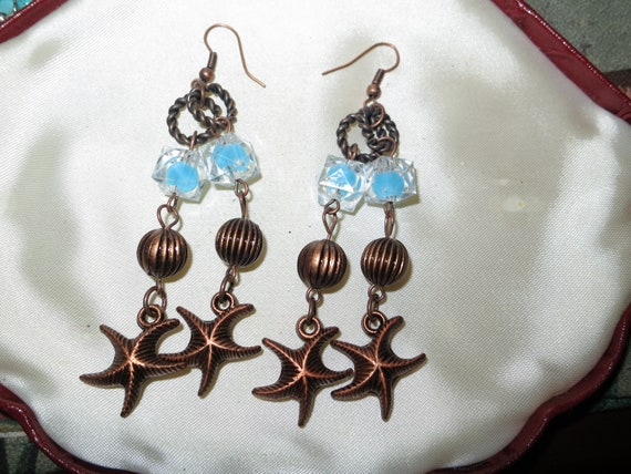 Lovely vintage bronze starfish  dropper earrings