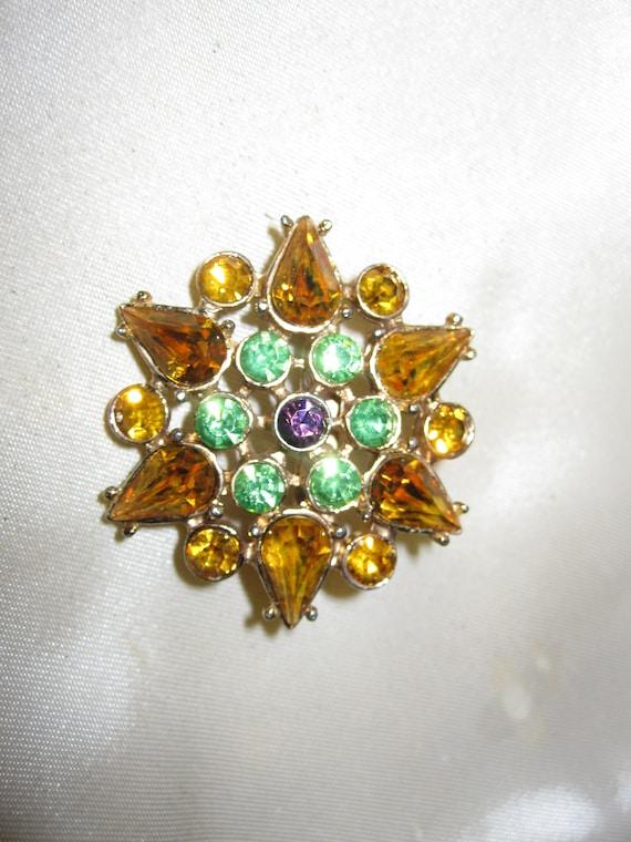 Lovely Vintage Amber Green & Amethyst Glass Stone star Brooch