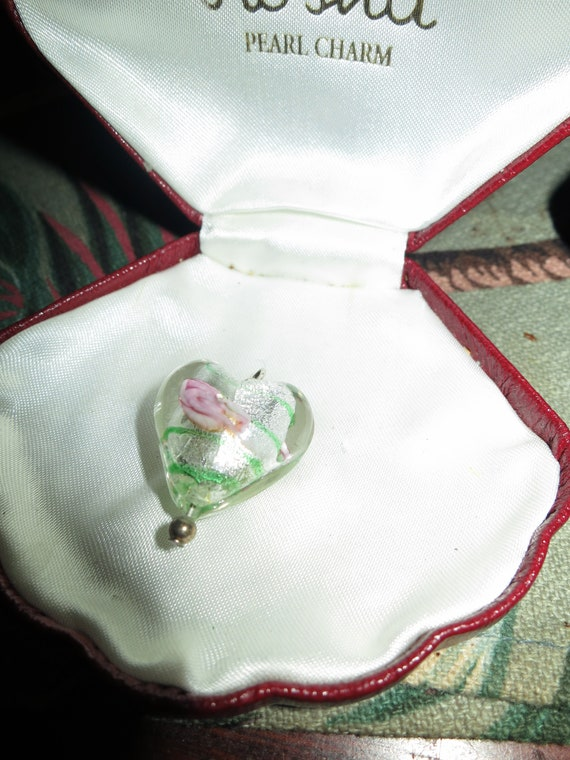 Lovely vintage Murano  glass heart  pendant for necklace