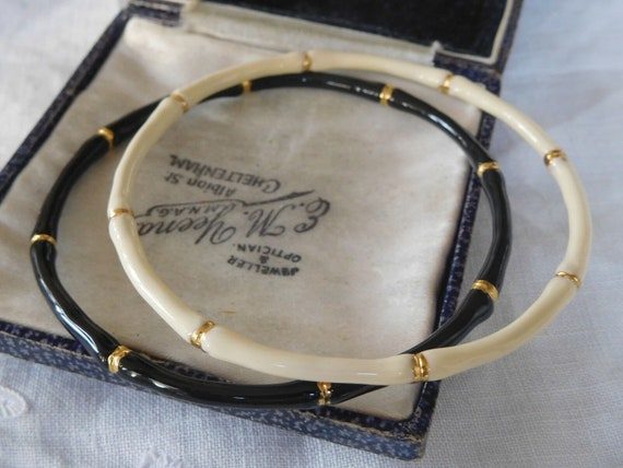 Lovely pair of vintage  1970s Cream and Black Enamel bamboo Bangles