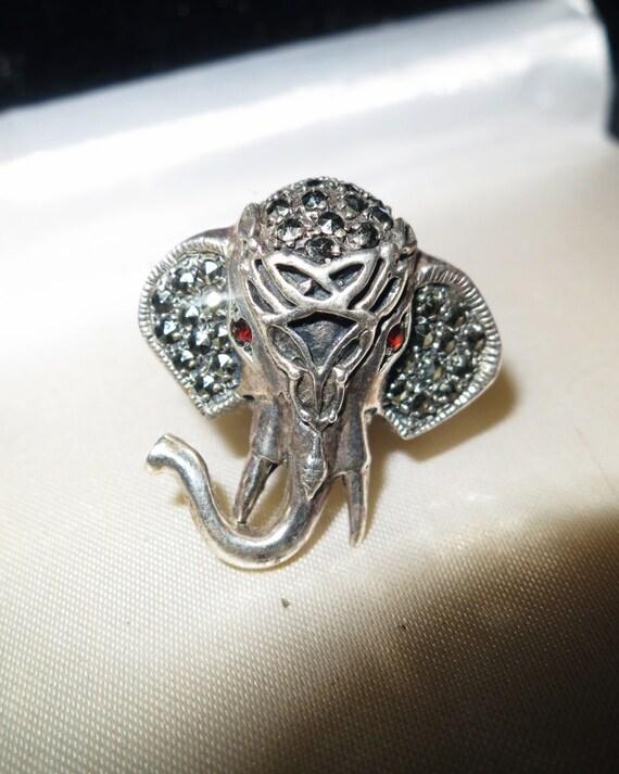 Lovely handmade sterling silver marcasite garnet elephant ring