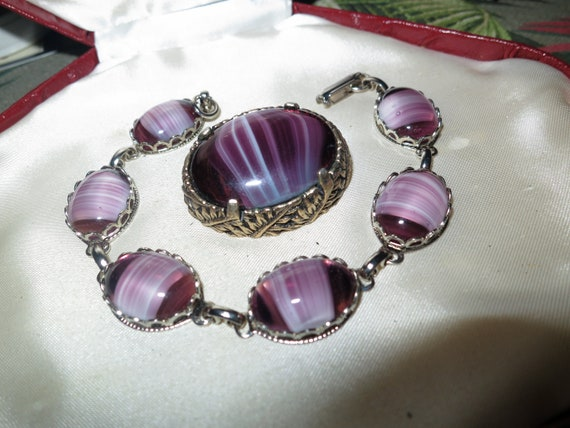 Wonderful vintage Scottish purple banded glass brooch and bracelet