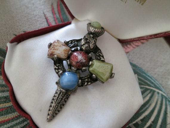 Lovely vintage Scottish celtic agate dagger shield brooch