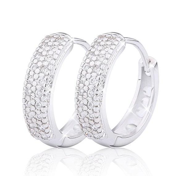 Beautiful 18 white gold filled diamante hoop earrings for pierced ears