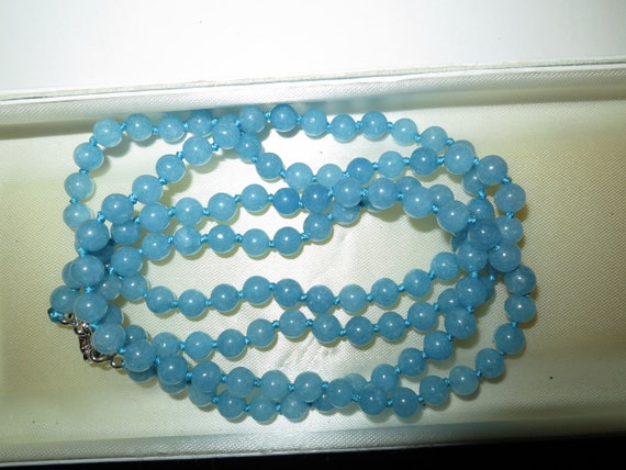 Lovely 6.5 mm natural aquamarine knotted necklace 36 inches