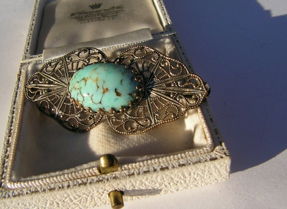 Fabulous vintage antique filigree Czech turquoise glass brooch