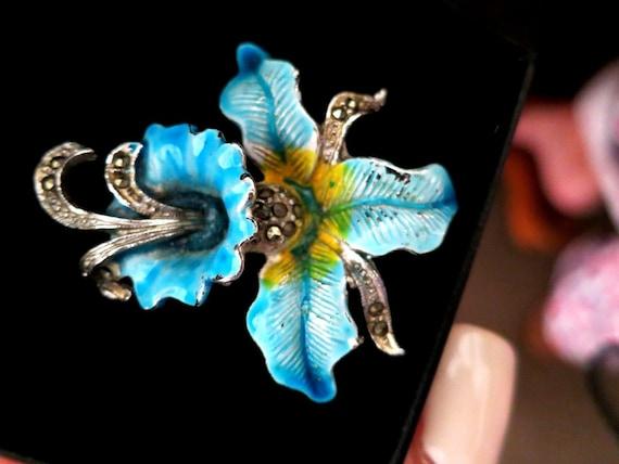 Beautiful vintage blue enamel marcasite orchid brooch
