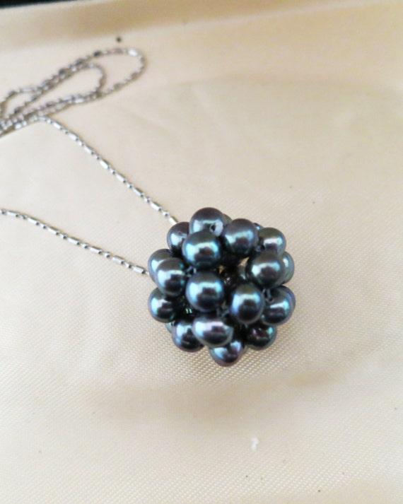 Lovely black pearl cluster pendant necklace