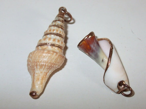 2  Charming Vintage Gold Embellished Genuine Shell Pendants