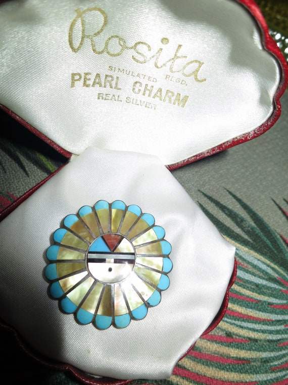 Vintage Signed Zuni Inlaid mother of pearl turquoise Sunface Pin Pendant by Verdel & Ester Niiha