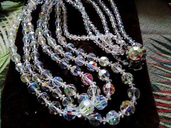 Beautiful vintage Deco silver metal 3 strand AB crystal rhinestone necklace 56 cms